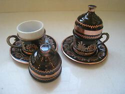 2 Traditional Handmade Copper Turkish Coffeeandespresso Cup Saucer Cover Porcelain