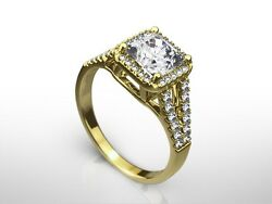 1.75 Ct Radiant H/si1 Diamond Solitaire Engagement Ring Yellow Gold Enhanced