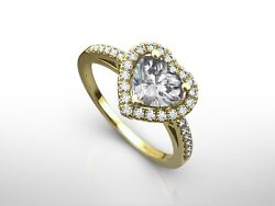 1.50 Carat Heart Cut H/si1 Diamond Solitaire Engagement Ring 18k Yellow Gold