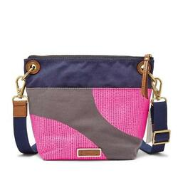 NEW FOSSIL WOMEN'S KEELY CANVAS & LEATHER CROSSBODY SHOULDER BAG PINK DOTS