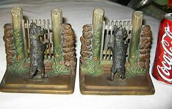 Best Antique Bandh Bradley Hubbard Cast Iron Dog And Fence Art Statue Bookends