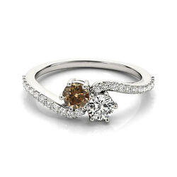 1.24 Cts White And Brown Vs2-si1 2 Stone Diamond Solitaire Ring 14k White Gold