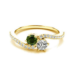 1.24 Cts White And Green Vs2-si1 2 Stone Diamond Solitaire Ring 14k Yellow Gold