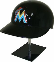 Miami Marlins Black Official Mlb No Ear Covered Base Coach's Catcher's Helmet