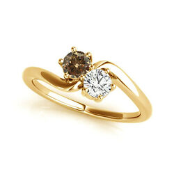 1 Cts Brownandwhite Vs2-si1 2 Stone Diamond Solitaire Ring 14k Yg For Woman