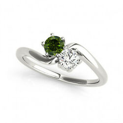 1 Cts Greenandwhite Vs2-si1 2 Stone Diamond Solitaire Ring 14k Wg For Woman