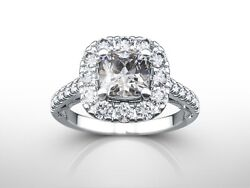 2.00 Ct Cushion Cut F/si2 Diamond Solitaire Engagement Ring 14k White Gold