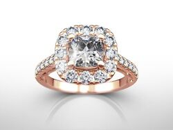 2.00 Ct Cushion Cut F/si2 Diamond Solitaire Engagement Ring 14k Rose Gold