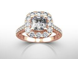 2.00 Ct Cushion Cut H/vs1 Diamond Solitaire Engagement Ring 14k Rose Gold