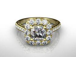 2.00 Ct Cushion Cut H/si2 Diamond Solitaire Engagement Ring 18k Yellow Gold