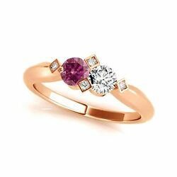 1.012 Cts Pink And White Vs-si1 2 Stone Diamond Solitaire Engagement Ring 14k Rg
