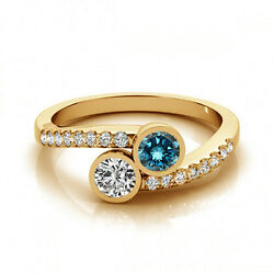 1.16 Cts Blue And White Vs-si1 2 Stone Diamond Solitaire Engagement Ring 14k Yg