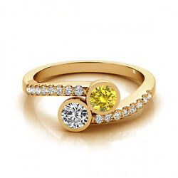 1.16 Cts Yellow And White Vs-si1 2 Stone Diamond Solitaire Engagement Ring 14k Yg