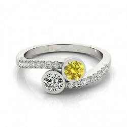 1.16 Cts Yellow And White Vs-si1 2 Stone Diamond Solitaire Engagement Ring 14k Wg