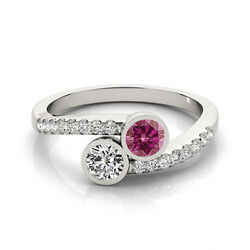 1.16 Cts Pink And White Vs-si1 2 Stone Diamond Solitaire Engagement Ring 14k Wg