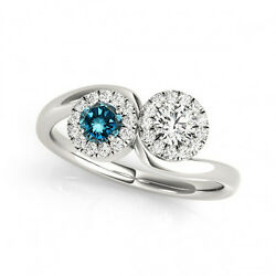 1.24 Cts Blue And White Vs-si1 2 Stone Diamond Solitaire Engagement Ring 14k Wg