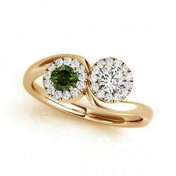 1.24 Cts Green And White Vs-si1 2 Stone Diamond Solitaire Engagement Ring 14k Yg