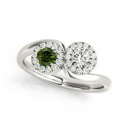 1.24 Cts Green And White Vs-si1 2 Stone Diamond Solitaire Engagement Ring 14k Wg