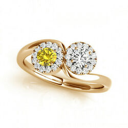 1.24 Cts Yellow And White Vs-si1 2 Stone Diamond Solitaire Engagement Ring 14k Yg