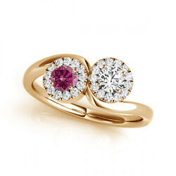 1.24 Cts Pink And White Vs-si1 2 Stone Diamond Solitaire Engagement Ring 14k Yg