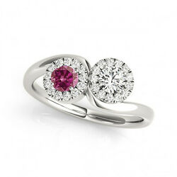 1.24 Cts Pink And White Vs-si1 2 Stone Diamond Solitaire Engagement Ring 14k Wg