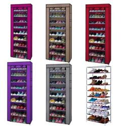10 Tier 9 Shelf Shoe Rack Shelf Saving Storage Closet Organizer Cabinet