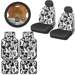 11pc Mickey Mouse Car Truck Front Seat Covers Floor Mats And Steering Wheel Cover