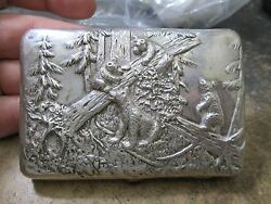 Super Rare Hand Chased Russian Hallmarked Silver Cigarette Case Bears And Woods