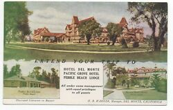 1910 Advertising Postcard For The Hotel Del Monte And Pebble Beach Lodge Ca