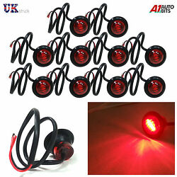 10 X 3 Led Red Round Rear Side Marker Lights Lamps 24v For Truck Trailer Lorry