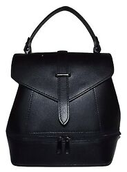 NEW FIRENZE ITALIA WOMEN#x27;S LEATHER SMALL CONVERTIBLE SATCHEL BACKPACK BLACK $89.95