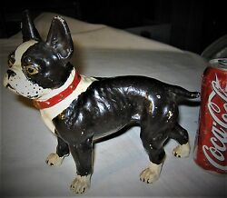 ANTIQUE USA BOSTON TERRIER CAST IRON DOG STATUE SCULPTURE HUBLEY DOOR DOORSTOP