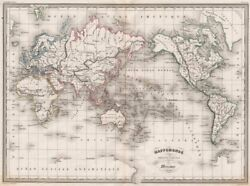 WORLD. Mappemonde suivant la Projection de Mercator. MALTE BRUN c1846 old