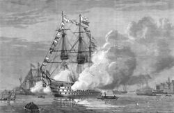 Hampshire. Flagships At Portsmouth Firing Salute Of 21 Guns Day Wedding 1874