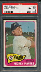 MICKEY MANTLE 1965 TOPPS YANKEES CARD #350 PSA 8