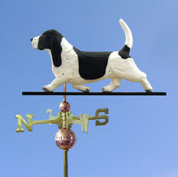 Basset Hound Hand Carved Hand Painted Basswood Dog Weathervane BlackWhite