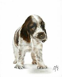 Original Oil Art ENGLISH COCKER SPANIEL Portrait Painting DOG PUPPY Signed