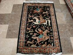 Awesome 3 Horses King Hunting Hand Knotted Fine Rug Carpet 4 X 2.6and039