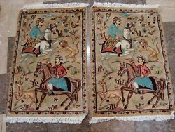 Hunting King Lion Deer Horse Hand Knotted Rug Carpet Pair 3 X 2'