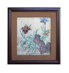 Chinese Ceramic Dimensional Flower Scenery Wall Framed Artcs823