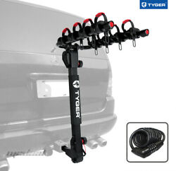 Tyger Deluxe 4-bike Carrier Rack Hitch Mount With Pin Lock And Cable Lock And