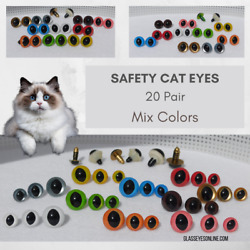 20 Pair Safety Eyes 10mm 12mm 15mm Slit Pupil Mix Colors Cat Dragon Frog Spe-1