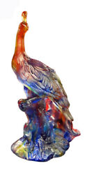 High Quality Chinese Crystal Glass Mix Color Peacock Statue Wk2197