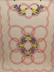 Lovely Vtg Dark Colors Floral Scallops Chenille Bedspread 88x104 Cutter Or Not