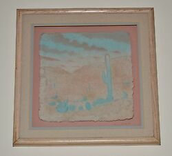 Wess Signed Hand Cast Paper-colored Cactus Desert Mountains Southwest Usa Framed