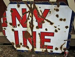 Antique New York City Usa Yankees Socony Oil Gas Art Porcelain Sign Movie Prop