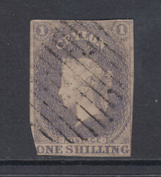 Ceylon Sc 11 Used 1857 1sh Violet Imperf Qv, Clipped O/w Sound And Scarce