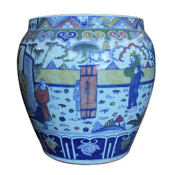 Chinese Off White Porcelain Color People Graphic Pot Planter Cs2690