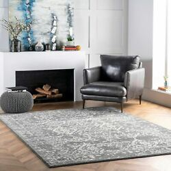 nuLOOM Traditional Oriental Distressed Floral Area Rug in Silver Gray