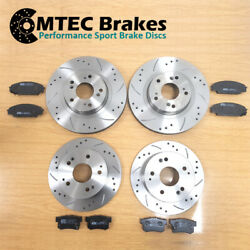 Lancer Evo 5 6 7 8 9 Mtec Drilled Grooved Brake Discs Front And Rear And Mtec Pads